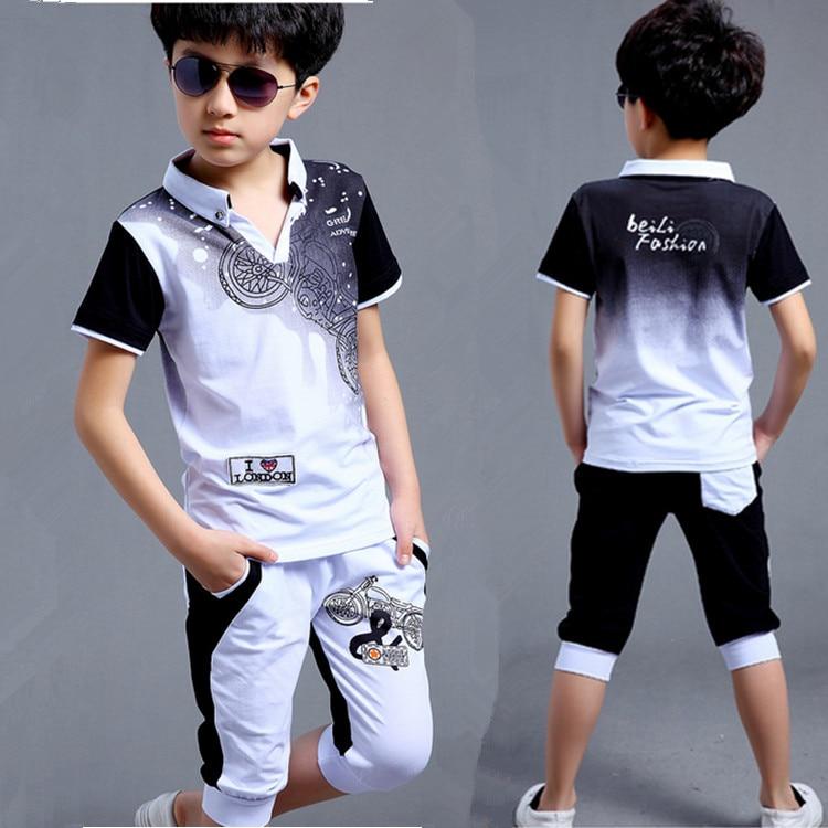 Boys Fashion təsadüfi idman kostyumu geyim dəsti Motosiklet çap - Uşaq geyimləri - Fotoqrafiya 3