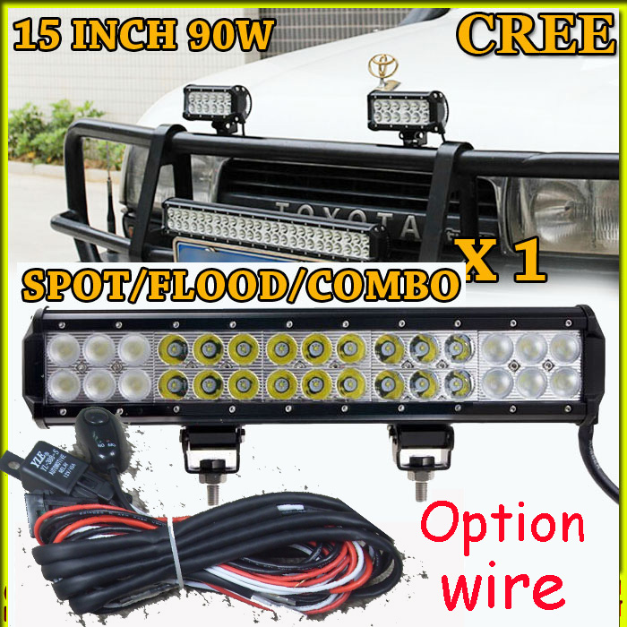 Free DHL/UPS/FEDEX ship! 15  90W,6250LM,10~30V,6500K,LED working bar;led offroad bar,Option wire harness,4x4,LED bar light