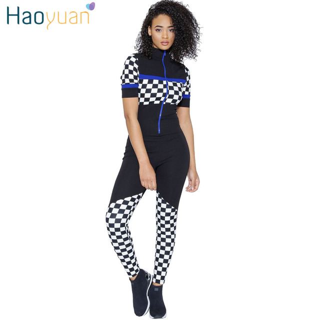 475dd1390ca HAOYUAN Checkerboard Rompers Womens Jumpsuit Short Sleeve Plaid Front Zip  Long Pants Summer Overalls One Piece