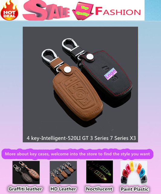 Top Quality car styling cover cow Leather keys bag cases chain Keychain intelligent/folding special for 520LI GT 3/7 Series X3