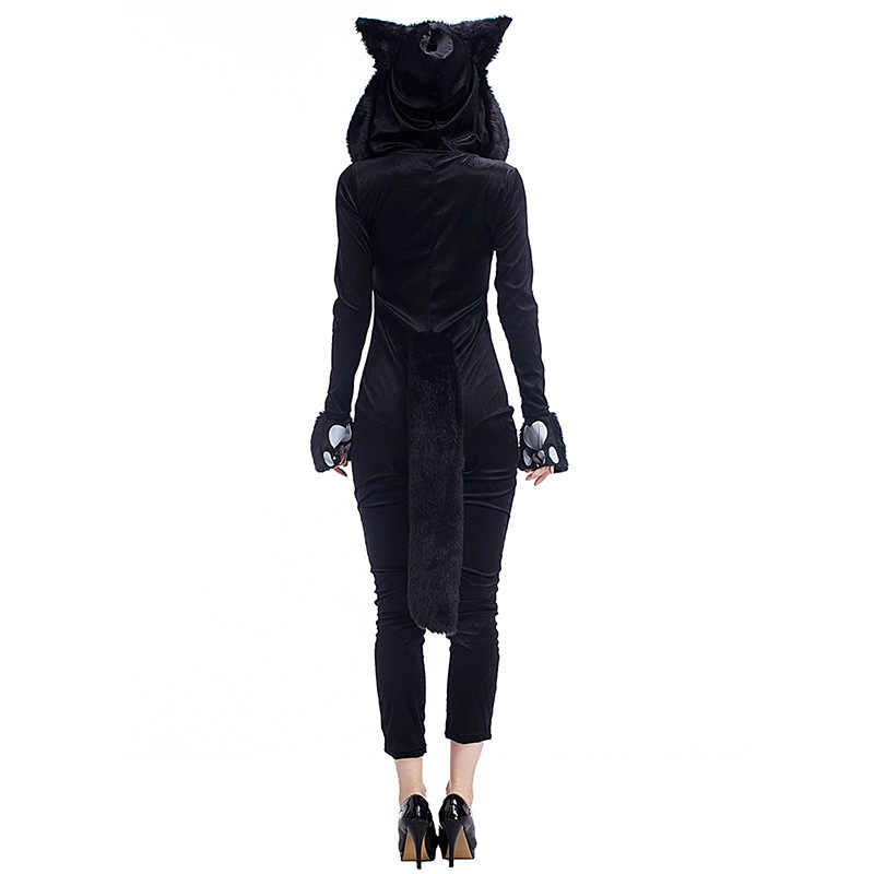 1e3d972d170 ... Women Black Sexy Cat Kitty Panda Animal Cosplay Jumpsuit Carnival Cosplay  Jumpsuit Gloves Set Sexy Halloween