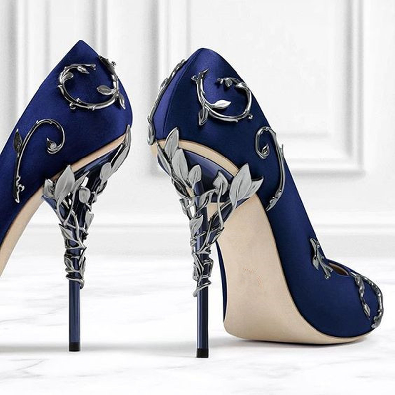 af1bee9ee9 Ornate Filigree Leaf White Women Wedding Shoes Chic Satin Stiletto Heels  Low cut Vamp Pointed Toe Eden Heel Bridal Shoes Women-in Women s Pumps from  Shoes ...