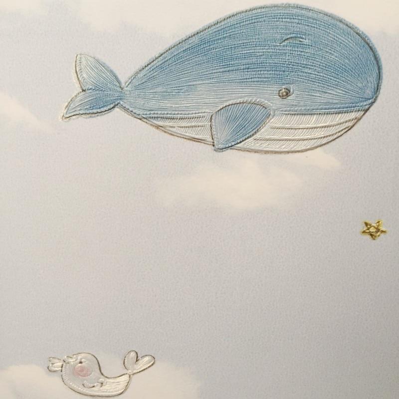 Купить с кэшбэком PAYSOTA Cartoon 3D Cute Whale Wallpaper Girl Boy Bedroom Den Decorative Wallpaper Volume