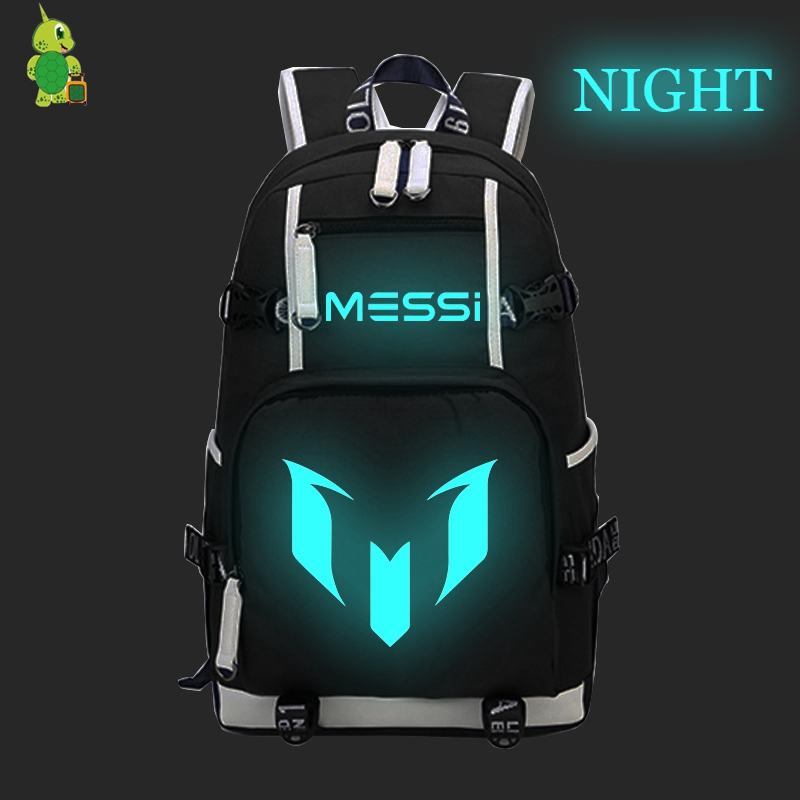 Famous Star Messi 10 Luminous Backpack Canvas School Bags For Teens Men Women Travel Bags Large Capacity Laptop Backpack