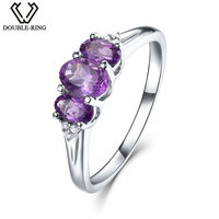 DOUBLE R 0.83ct Natural Amethyst Gemstone 925 Sterling Silver Rings for women