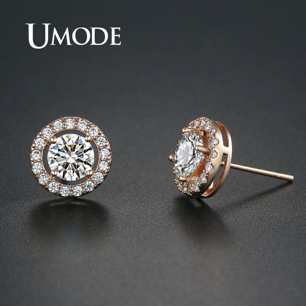 UMODE Rose Gold Simple Stud Earrings for Women Girls Small Zircon Earrings Korean Style Fashion Jewelry Accessories UE0012