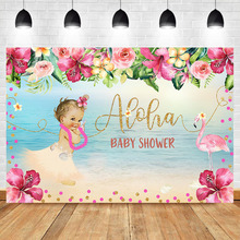 Flamingo Backdrop Beach Summer Girl Baby Shower Photography Background Little Princess Banner Backdrops