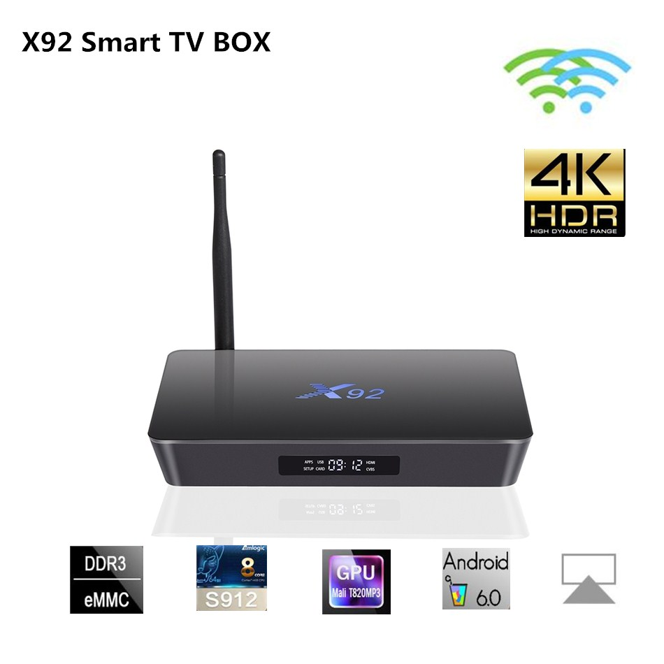 X92 Android 6.0 TV Box Amlogic S912 Octa-core 2.4GHz/5.8GHz WiFi HD 2.0a with US