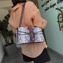 HIFAR Snake Bag For Women Fashion Shoulder Bag Big Chain Messenger Crossbody Bag Serpentine Leather Crossbody Flap Bag 2019 New colorblock flap chain crossbody bag