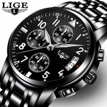 LIGE de Cuarzo de Moda Para Hombre Relojes de Primeras Marcas de Lujo Del Reloj Del Negocio Hombres Ocasionales de Acero Completo Impermeable Reloj Deportivo Relogio masculino