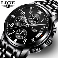 LIGE Fashion Quartz Mens Watches Top Brand Luxury Business Watch Men Casual Full Steel Waterproof Sport