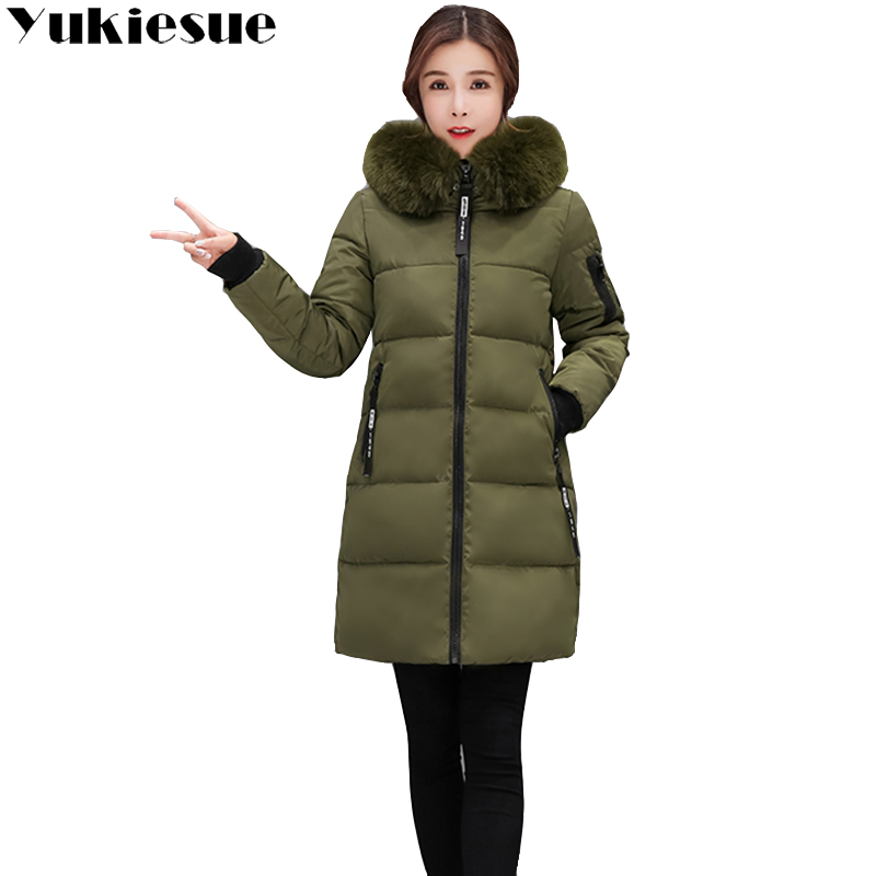 2018 New Fashion Women Winter Jacket With Fur collar Warm Hooded Female Womens Winter Coat Long   Parka   Outwear Camperas plus size