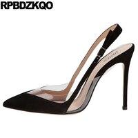High Heels Ultra Super 11 43 Slingback 10 42 Stiletto Black Brand Women Shoes 2017 Strap Plus Size Pvc Designer Extreme Pumps