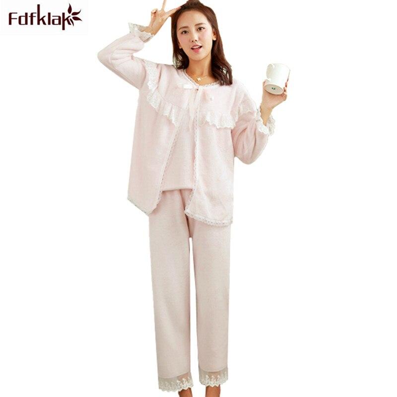 Fdfklak 3 pièces flanelle Pyjamas ensemble femmes hiver pyjama à manches longues doux dentelle fille Pyjamas costume pijama mujer