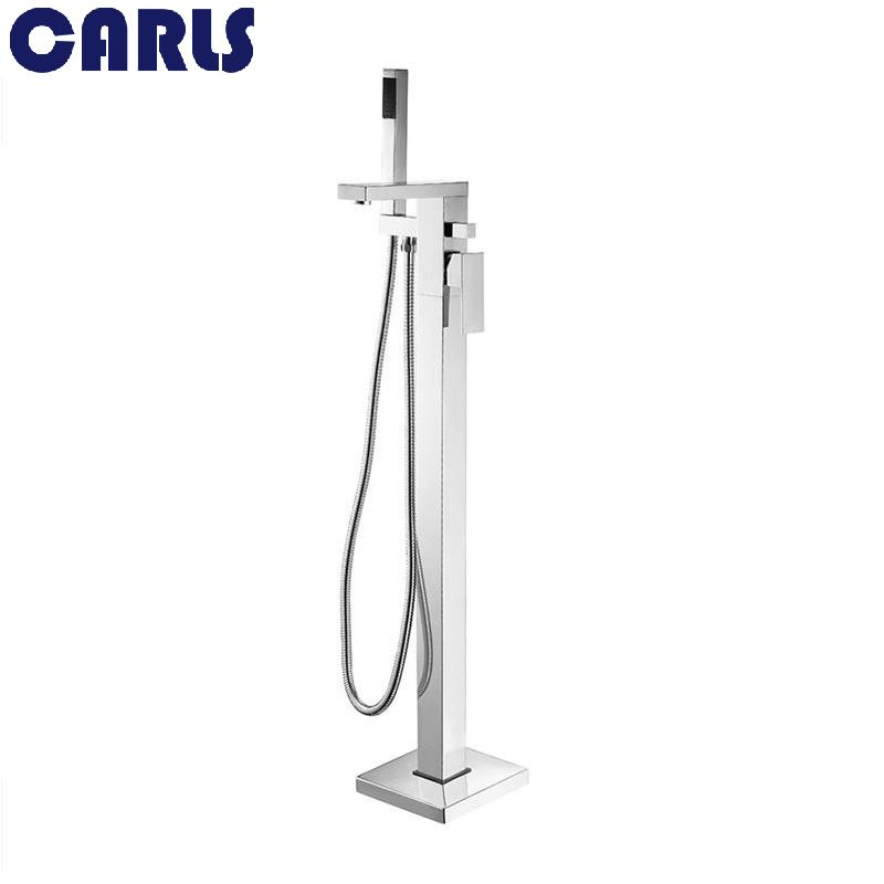 CARLS Solid Brass High Quality Chrome Bathtub Faucet Floor Mounted Single Handle Mixer Tap with Hand Sprayer F 007