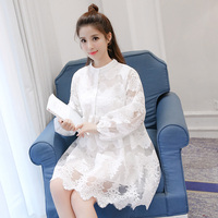 2017 Spring Women dress Lace In Long Type A Trend Dresses White Black Apricot 3310