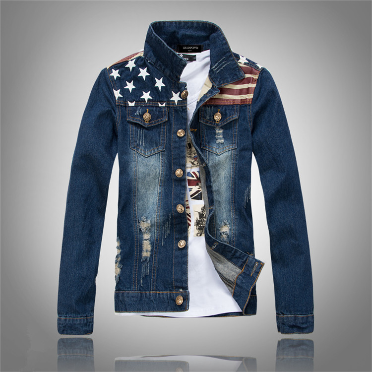 Men Distressed American Flag Print Denim Jacket New 2017 Mens Ripped Jean  Jackets With Chest Pockets - Online Buy Wholesale American Flag Denim Jacket From China