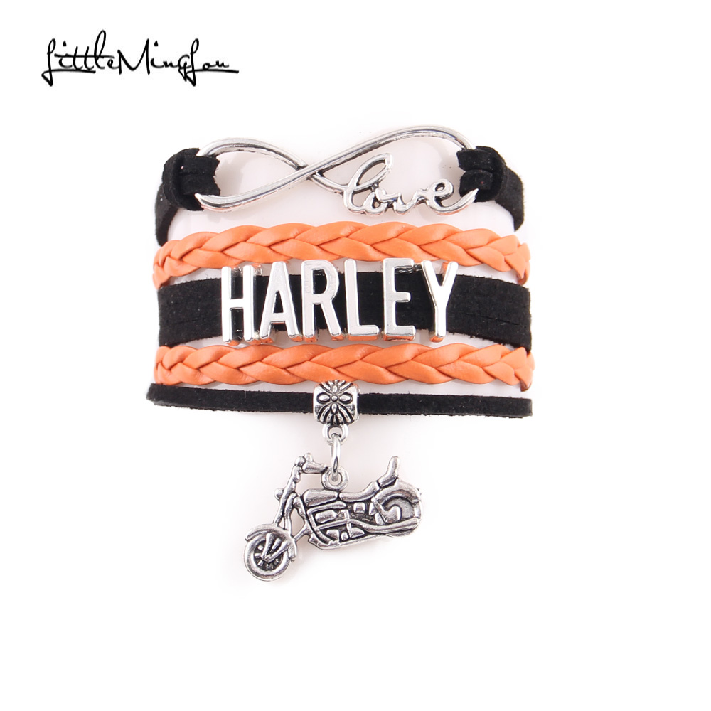 Little MingLou Infinity Love Harley bracelet Motocross Motorsport biker leather wrap Charm Bracelets & Bangles for women men