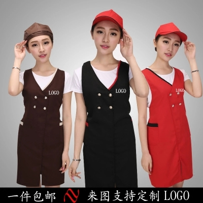 Fashion Work Aprons Print Beauty Salon Manicure Shop Work Clothes Mother And Baby Supermarket Apron Customized Logo Female