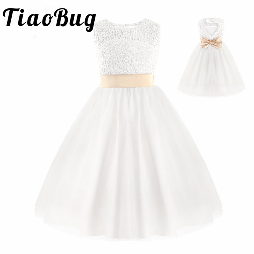 TiaoBug Teenage Kids Princess Girls Flower Tulle Lace Dress Floral Dress Prom Formal Maxi Dress for Party and Wedding Bridesmaid