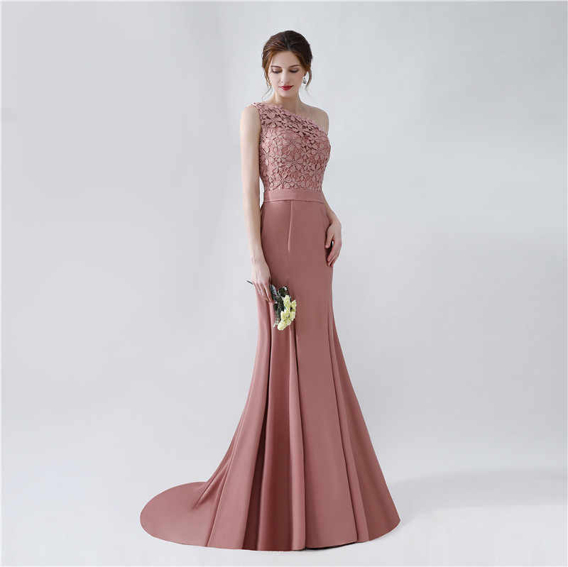 fba08a722dbc3 JaneVini Mermaid Satin Mother Of The Bride Dresses 2018 One Shoulder Lace  Long Sexy Evening Gowns Sweep Train Robe Arabe Longue