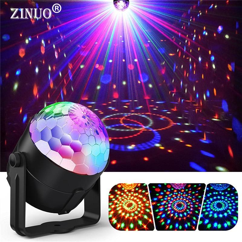 ZINUO Som Ativado Discoteca Luzes 3 W RGB Rotating Magic Ball Lâmpada luz de Palco Para A Festa de Casa KTV Xmas Wedding Show Pub