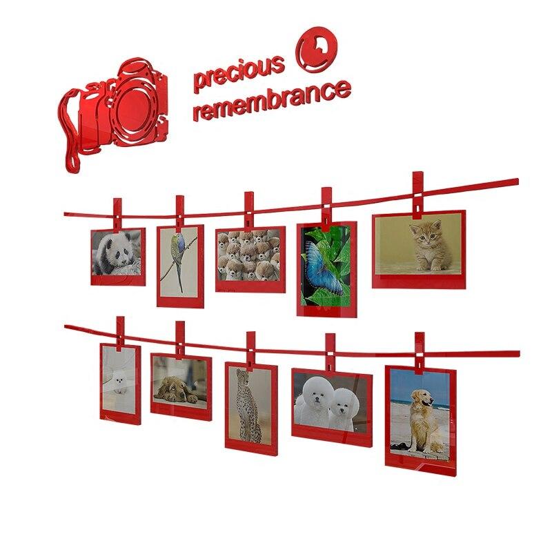 Фото наклейка для стены, акриловая стерео 10х 5 дюймовая фоторамка стикер на стену, гостиная диван фон украшение на стену - 4