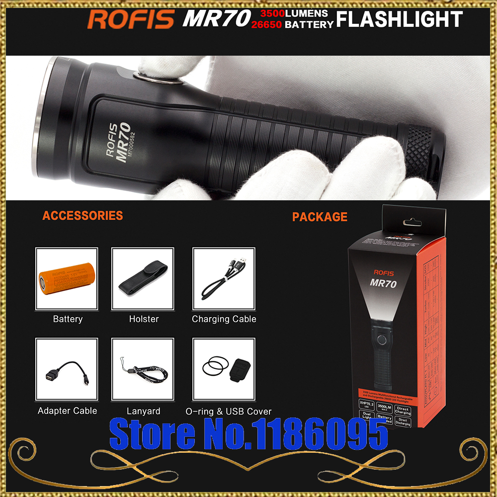 Rofis MR70 XHP70.2 CW / XP-G2 NW LED 3500lm Rechargeable Flashlight Beam Throw 248m Outdoor Torch + 26650 5500mAh Battery