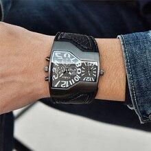 Oulm relógios militares masculinos, relógio de quartzo de couro, homem, dois fusos horários, relógio esportivo, masculino, dropshipping