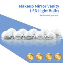 все цены на Makeup Mirror Light 12V Beauty Mirror Led Lamp 6 10 14 Bulbs Hollywood Vanity Lights US EU UK Plug Stepless Dimmable Wall Lamp онлайн
