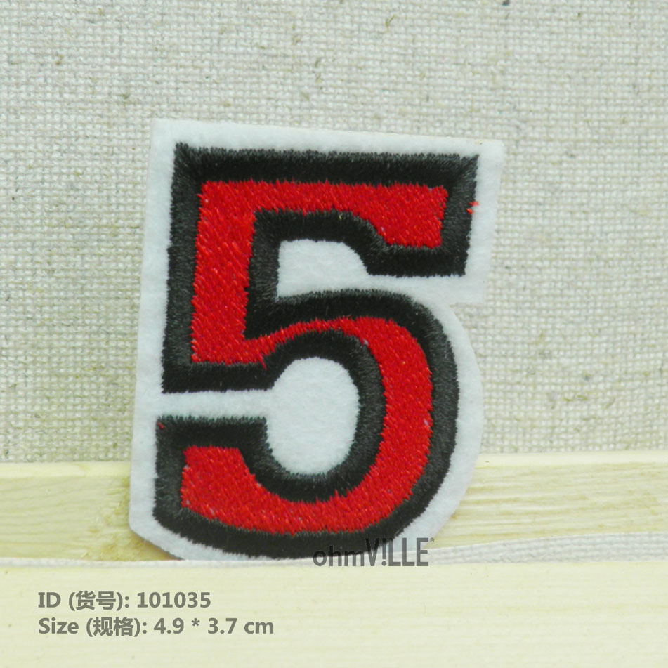 Red Number 5 Iron on Embroidery Applique Patch Sew Iron Badge