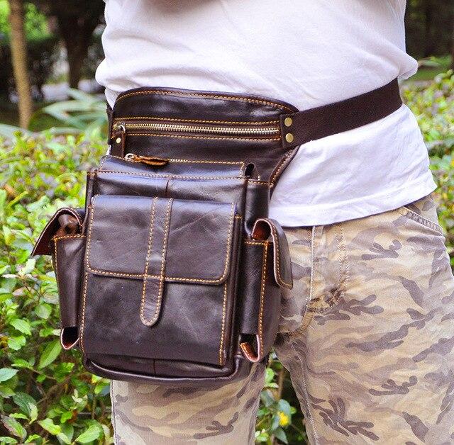 2016 new crazy horse genuine leather men's multifunction travel bags funny  Messenger men leg bag hiqh quality men waist bag