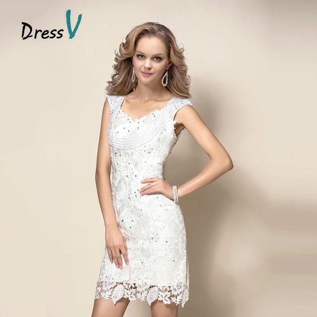 37d8ac5597 Blanco Corto Mini Vestidos de Cóctel de Encaje Floral Cap Mangas Con  Cuentas de Perlas