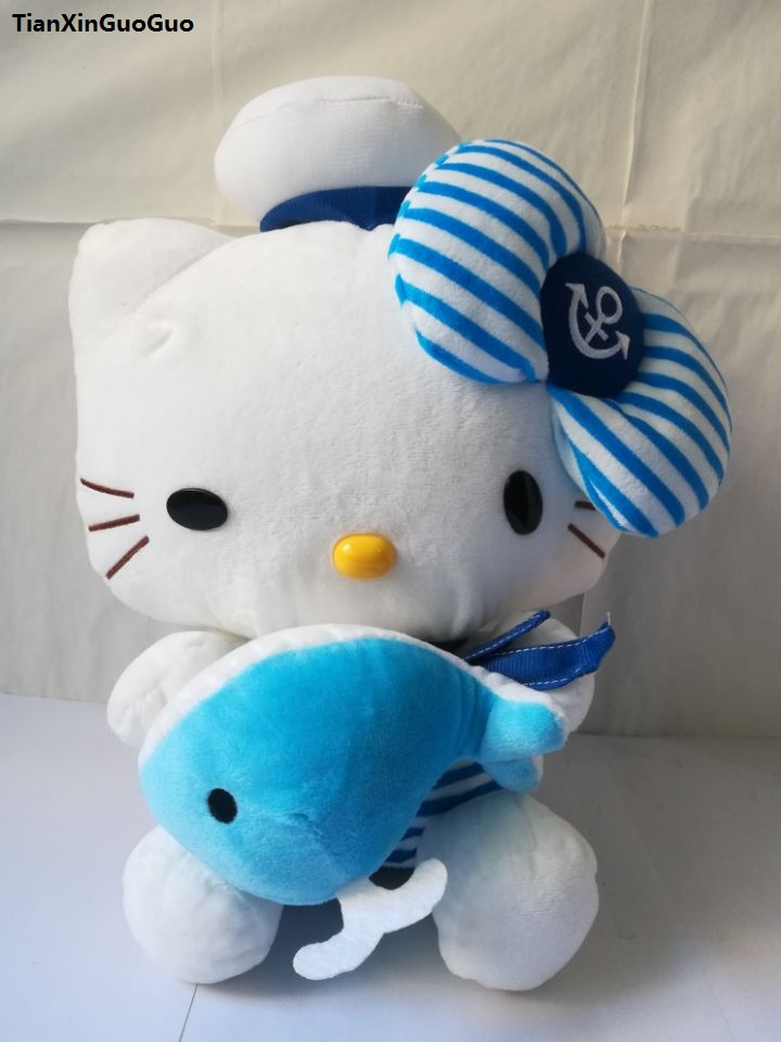navy suits blue stripes bowtie design cat large 35cm kitty plush toy hug small dolphin soft doll throw pillow birthday gift w181