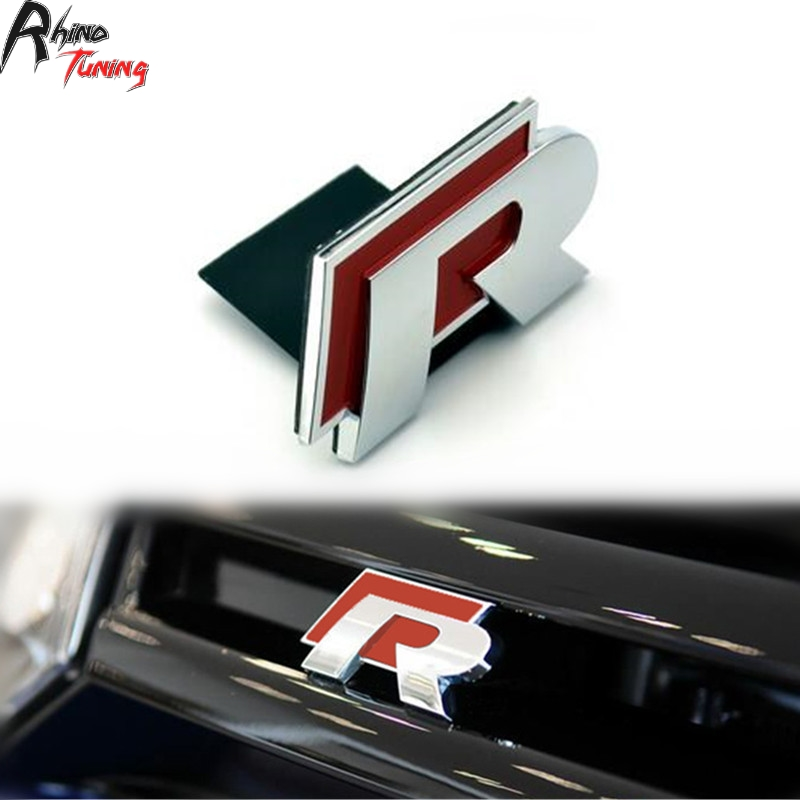 Rhino Tuning Red R Logo Car Grille Car Emblem For Golf R32 R400 R20 R50 R36 Scirocco Passat Tiguan Front Grill Car Badge 040rd waterproof rubber hk right hand steering wheel car floor mats for volkswagengolf 5 6 scirocco with gti tsi r r golf logo