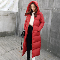2019 High Quality Thicker Warm Plus Size Female Parka New Hooded Slim Long Coat White Duck Down Women Winter Down Jacket QH267