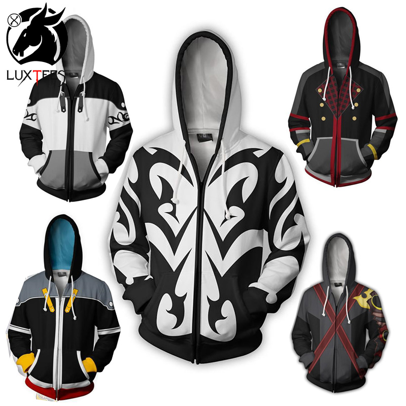 אנימה ממלכת לבבות סורה קוספליי נים תלבושות גברים נשים סווטשירט Xemnas רוכסן מעיל אביב מעילי Luxtees