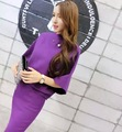 Knit 2 Piece Sets Women 2016 Autumn Winter Female Casual Batwing Sleeve Pullover Sweater Tops + SKirt Knitted Suits Purple