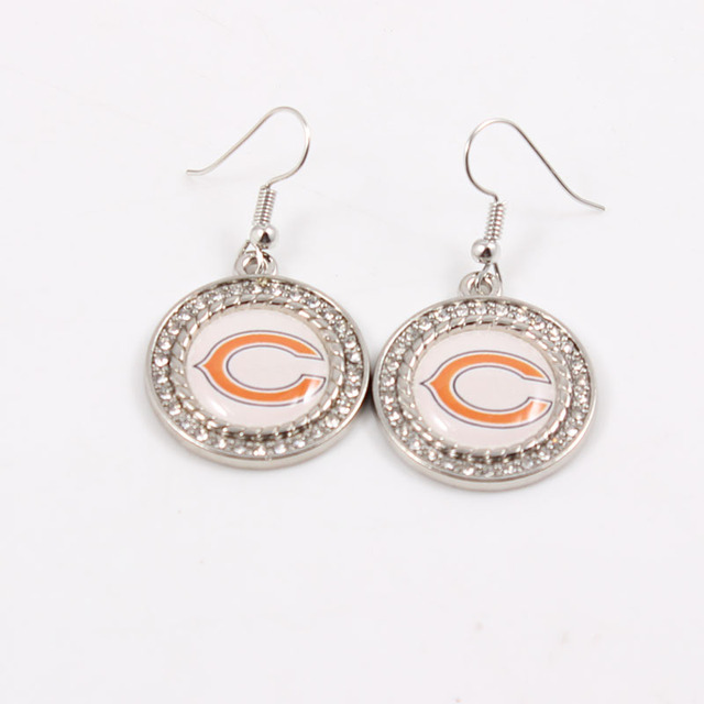 10pairs Sports Team Football Chicago Bears Jewelry Crystala Earrings For Woman Gift Charm