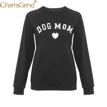 Newly Design DOG MOM Print Women Casual Round Neck Long Sleeve Plus Size Shirt Tops Sweatshirts S/M/L/XL/2XL/3XL/4XL/5XL 81217(China)