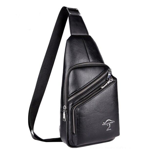 445d68976300 Горячая 2016 новый бренд дизайн моды Черный Топ искусственная кожа Сумка  нагрудная сумка мужские сумки через