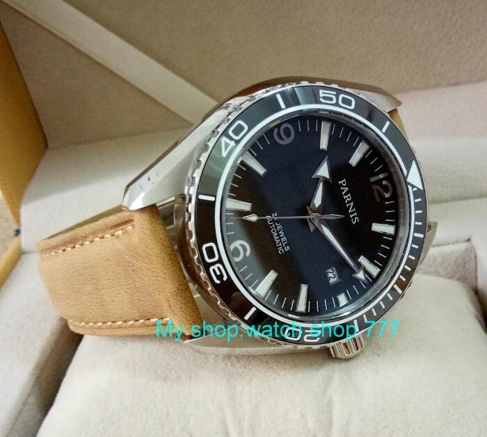 sapphire Crystal 45mm PARNIS Japanese 21 Jewels Automatic Self-Wind Mechanical movement ceramics Bezel 5ATM Men's Watches 06 sapphire