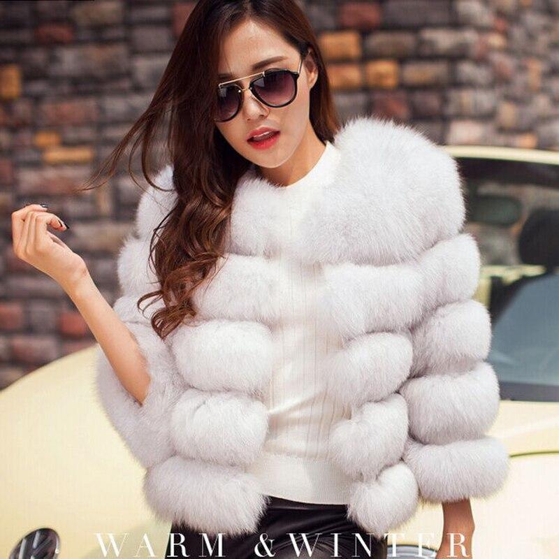 bcf99e9173f S-3XL Mink Coats Women 2018 Winter New Fashion Pink FAUX Fur Coat Elegant  Thick Warm ...