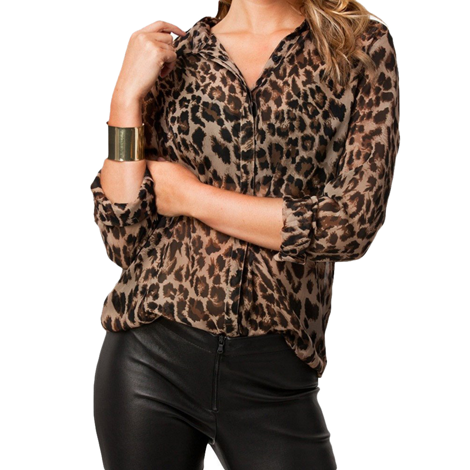 High Street Blusas Femininas Women Blouse Ladies Sexy Long Sleeve Leopard Print Chiffon  ...