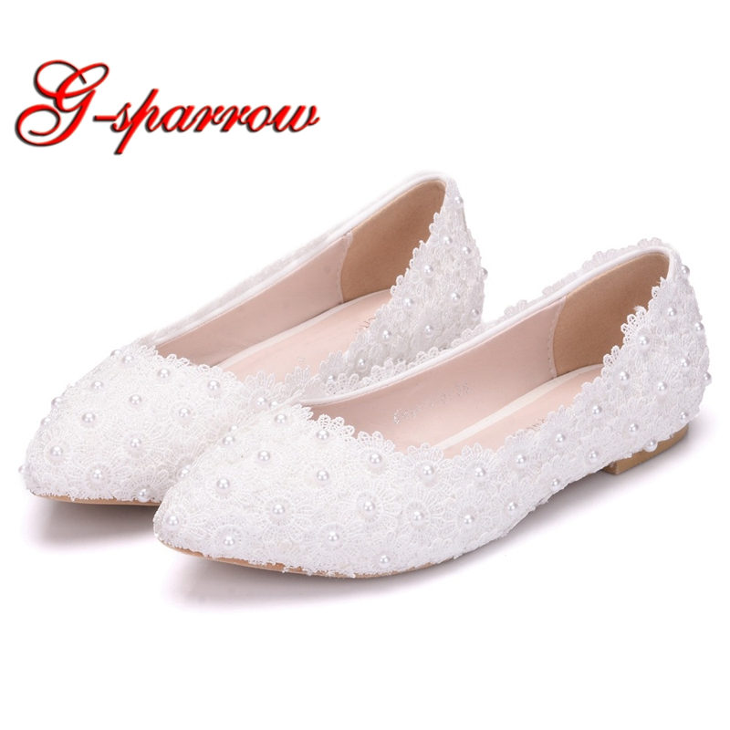bcfcf0a570 Dropshipping New Wedding Lace White Flat Women's Shoes Female ...
