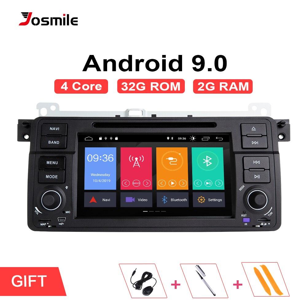 Josmile 1 din android 9.0 navegação gps para bmw e46 m3 rover 75 coupe 318/320/325/330/335 carro rádio dvd player estéreo wifi