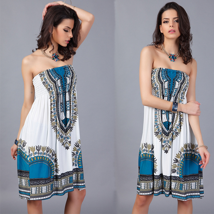 New design sexy hot Bohemian summer beach party fashion women vintage style Harajuku print strapless dress