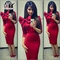 THYY Medio Invierno Sexy vestidos de Las Mujeres 2017 Mujeres Midi vestidos de Invierno Arco Sólido Recta partido de Las Mujeres vestido de Mujer Sexy Vestidos
