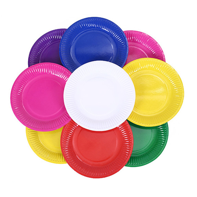 High quality 20pcs 7 inch Disposable Colorful Plates Paper Dishes for Birthday Party Plate Creative Kindergrten  sc 1 st  AliExpress.com & High quality 20pcs 7 inch Disposable Colorful Plates Paper Dishes ...
