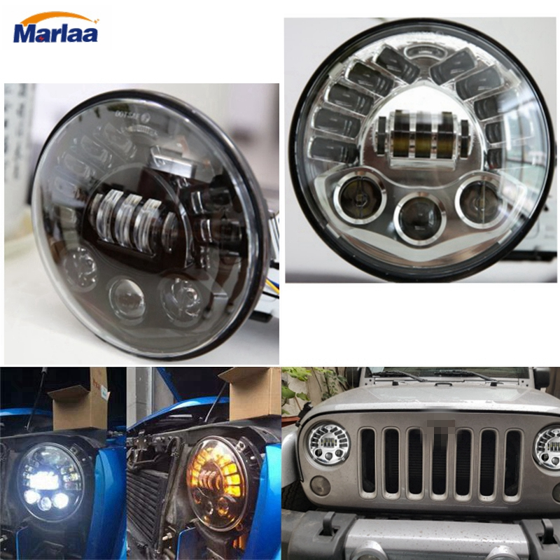 7 Inch 70W Round Daymaker Motorcycle LED Projectior Headlight for Jeep Wrangler Harley Davidson Motorcycles H4 Led Headlamp Bulb